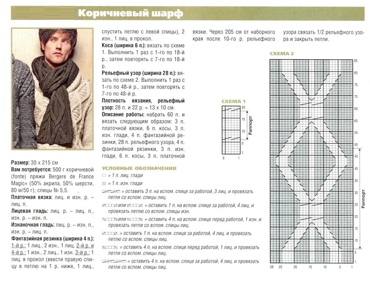 Схема вязки для детского шарфа