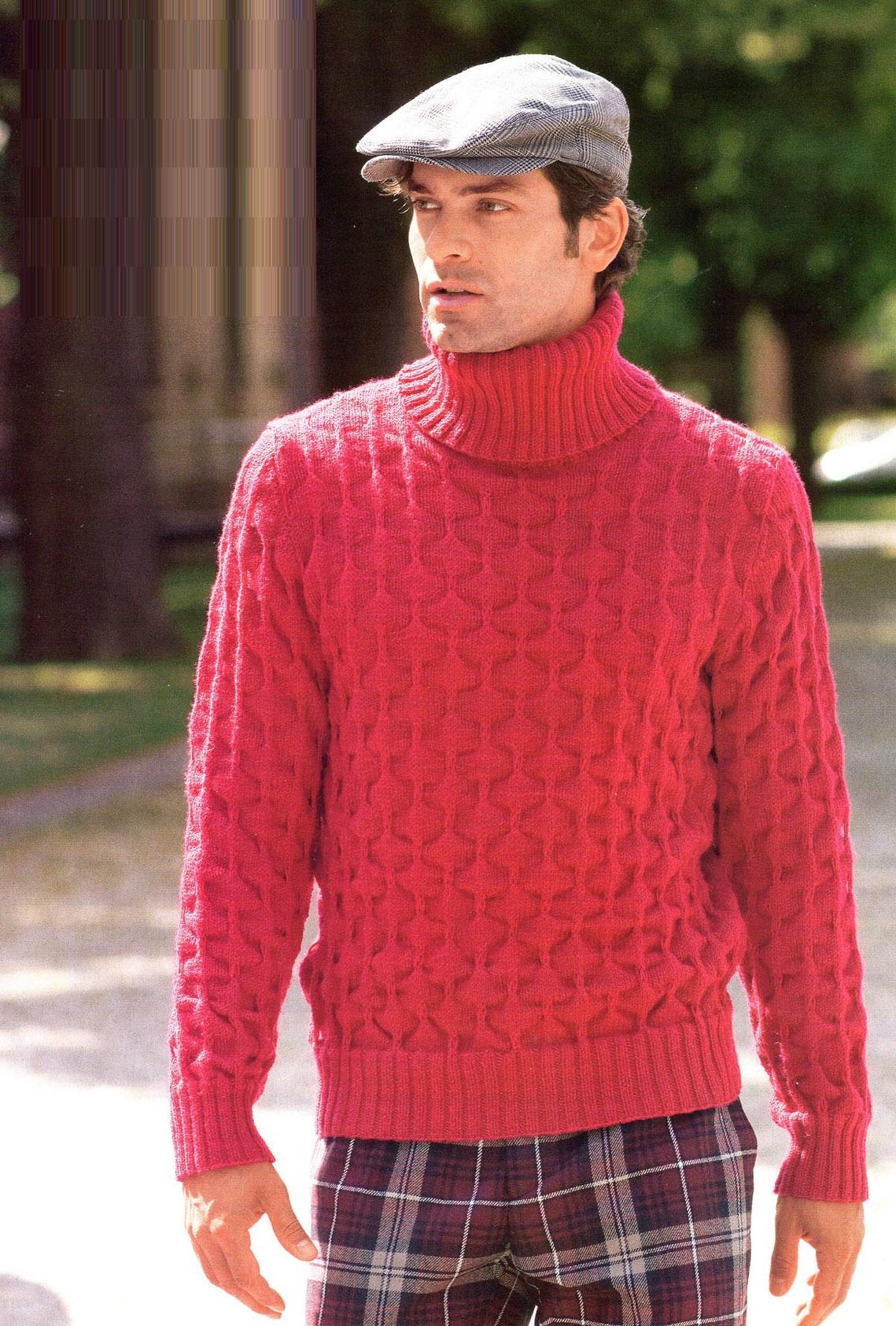 схема вязания бордовый мужской свитер